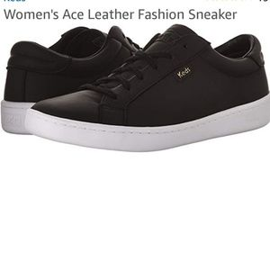 KEDS ACE ORTHOLITE BLACK  LEATHER LACE UP SNEAKERS